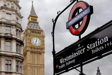 Station Westminster Londres à côté de Big Ben